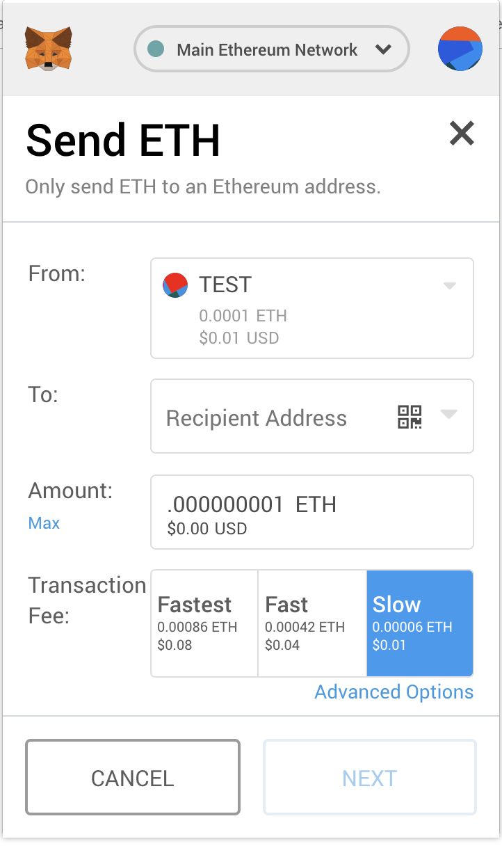 Basic send transactions screen in Metamask