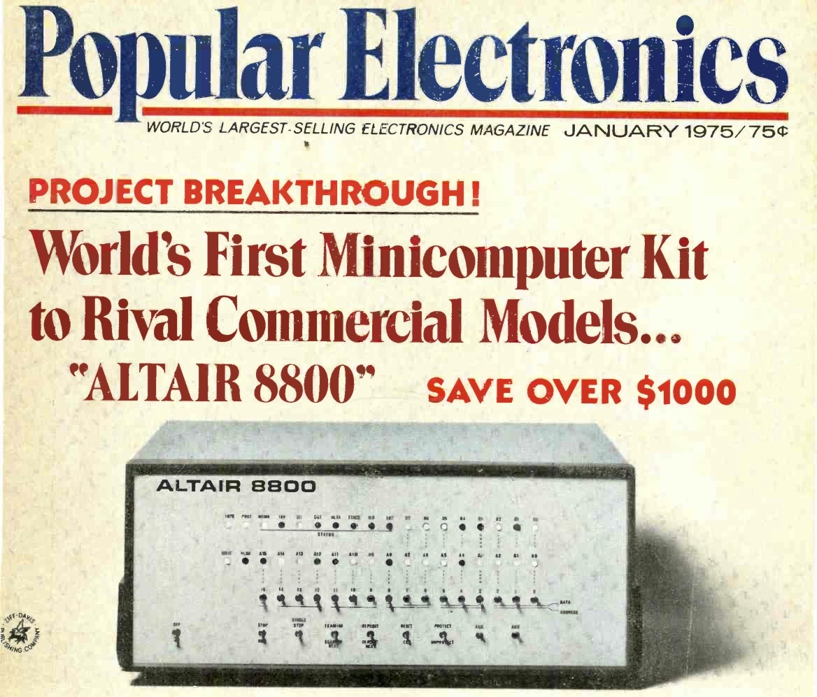 The Altair 8800 on the cover of Popular Electronics, 1975